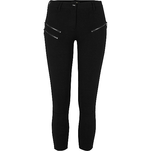 Petite black skinny fit zip trousers