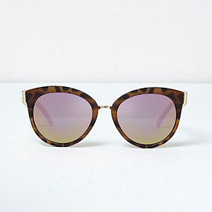 Khaki leopard print cat eye sunglasses