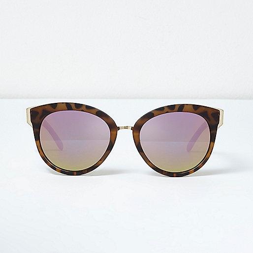 Khaki leopard print cat eye sunglasses