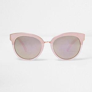 Roze cat-eye-zonnebril met spiegelglazen