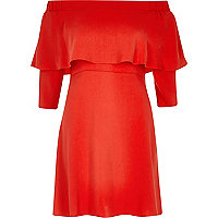 Red bardot cape swing dress