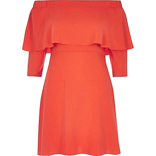 Bright red bardot cape swing dress