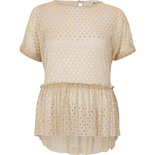 Gold polka dot mesh frill top