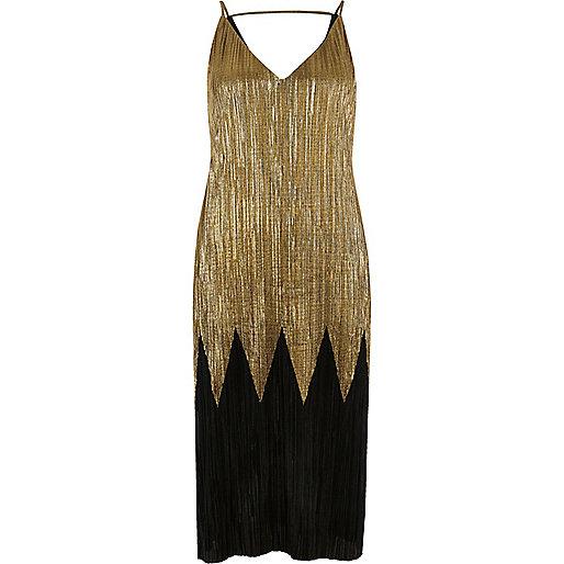 Robe mi-longue plissée noire et dorée