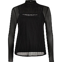 Black long sleeve lace mesh top