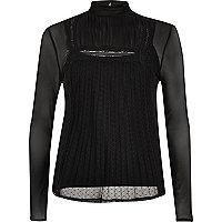 Black long sleeve lace mesh top