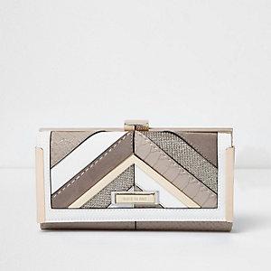 Beige glitter panel clip top purse
