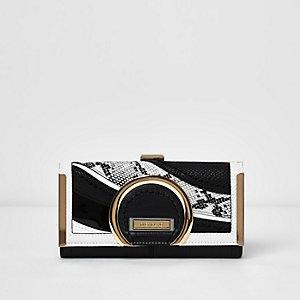 Porte-monnaie imprimé serpent noir et blanc