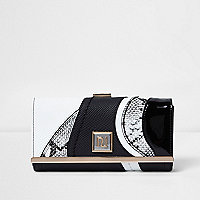 Black and white snakeskin print purse