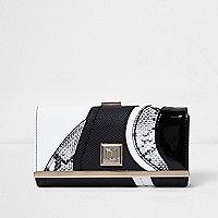 Black and white snakeskin print purse