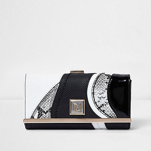 Porte-monnaie imprimé peau de serpent noir et blanc