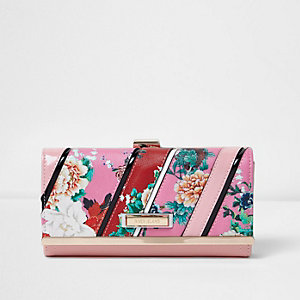 Pink and red floral print purse