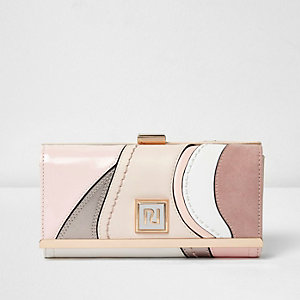 Pink textured panel clip top purse