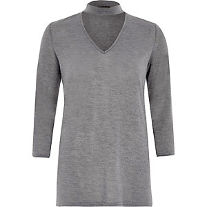 Dark grey knit choker top
