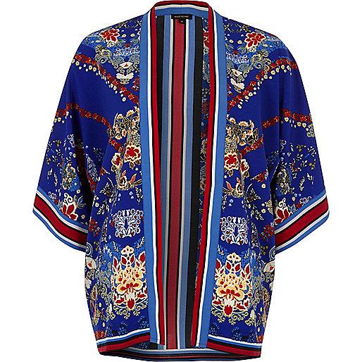 Blue floral print kimono