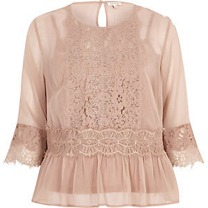 Dark nude chiffon lace detail blouse