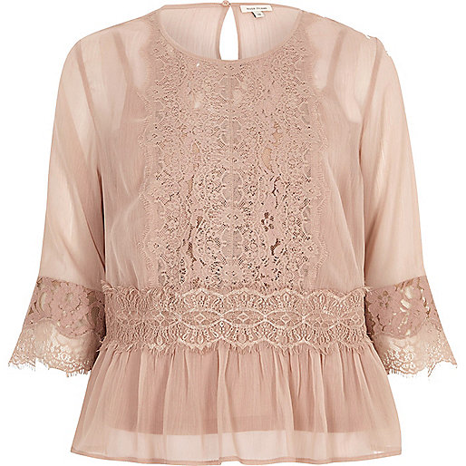 Dark nude chiffon lace detail blouse