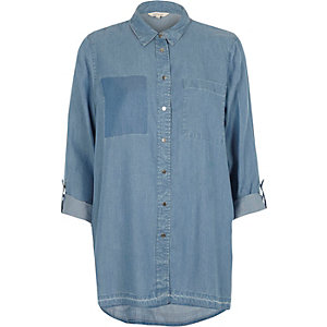 Light blue wash patch pocket denim shirt