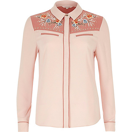 Pink embroidered western shirt