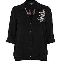 Black floral embroidered pyjama blouse