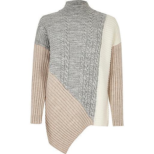 Grey cable knit panel turtleneck jumper