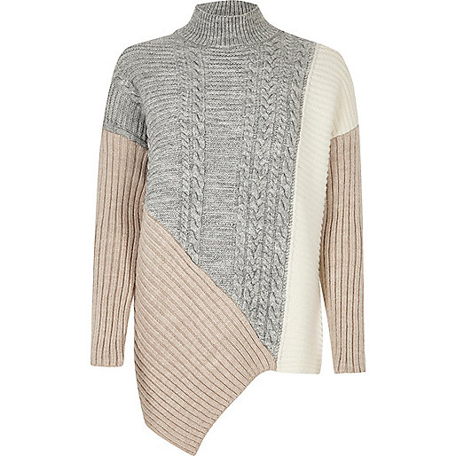 Grey cable knit panel turtleneck sweater