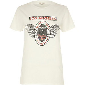 White Los Angeles print boyfriend T-shirt