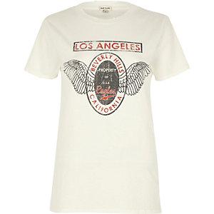 T-shirt boyfriend à imprimé Los Angeles blanc