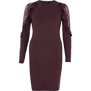 Dark red frill lace bodycon midi dress