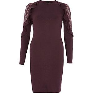 Dark red frill lace bodycon midi dress