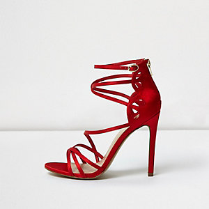 Red satin finish caged sandals