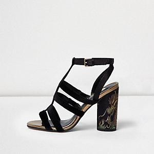 Black velvet strappy textile heel sandals