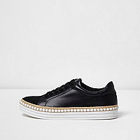 Black lace-up espadrille platform trainers