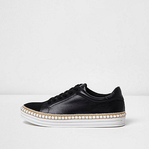 Zwarte espadrille-sneakers met veters en plateauzool
