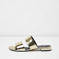 Gold metallic two strap mules
