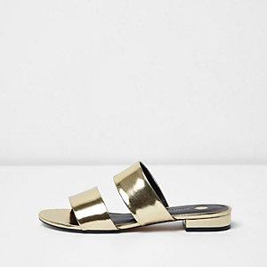 Gold metallic two strap mules