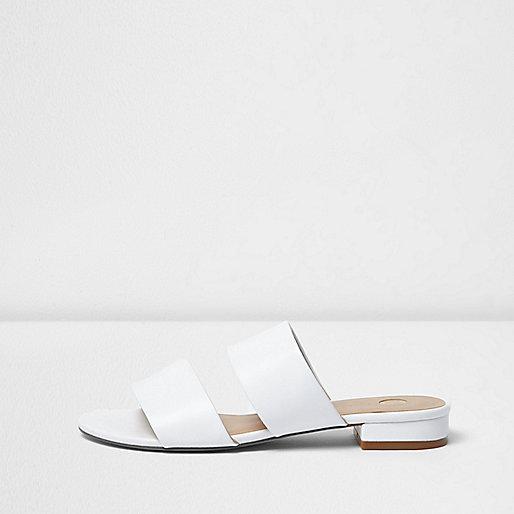 White two strap mules