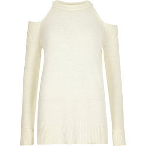Cream cold shoulder knit jumper
