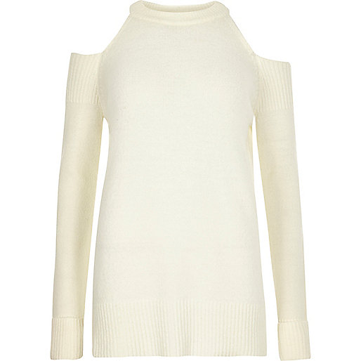 Cream cold shoulder knit sweater