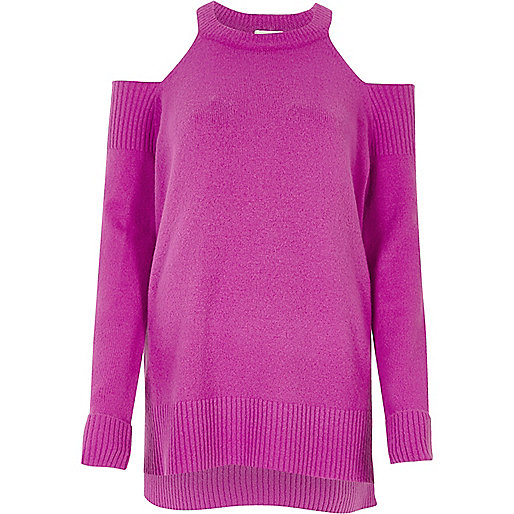 Purple knit cold shoulder sweater
