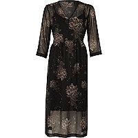 Schwarzes, tailliertes Boho-Kleid mit Blumenmuster