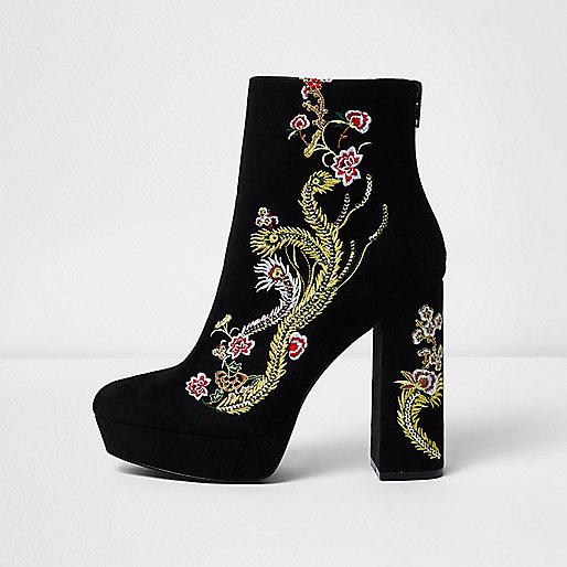 Black floral embroidered platform boots