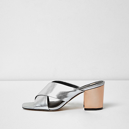 Silver metallic strappy mules
