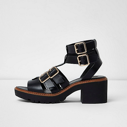 Black multi buckle strap gladiator sandals