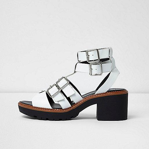 White multi buckle strap gladiator sandals