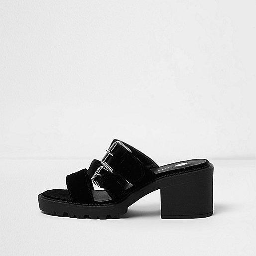 Black velvet multi strap heel sandals