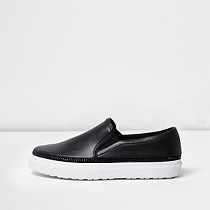 Black stud trim plimsolls
