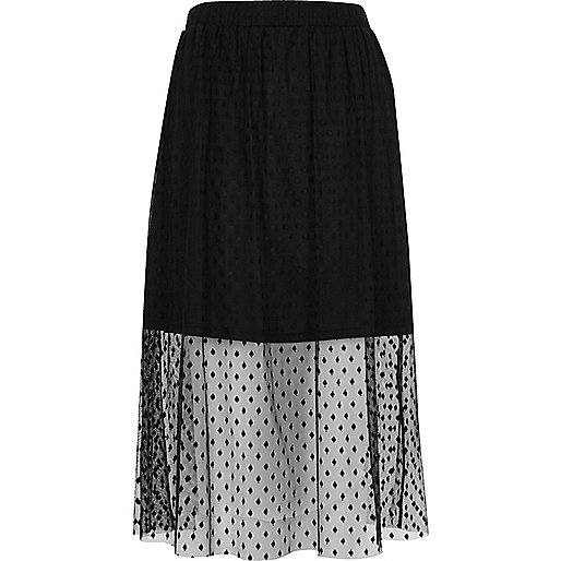 Black polka dot tulle midi skirt