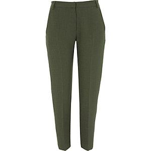 Khaki green side stripe slim fit trousers