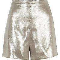 Silver high rise shorts